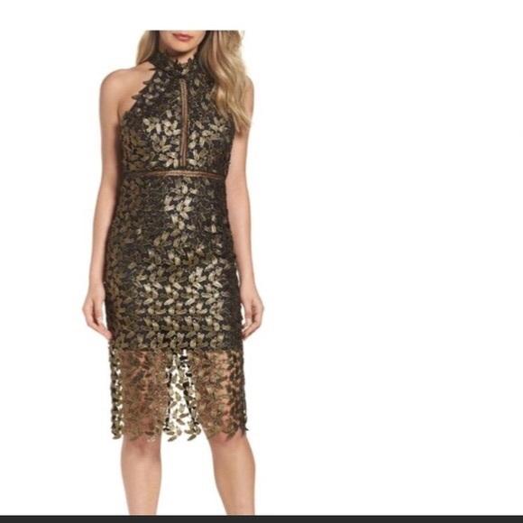 6c2e5829 Bardot Dresses & Skirts - Bardot Gemma Metallic Lace Halter Dress